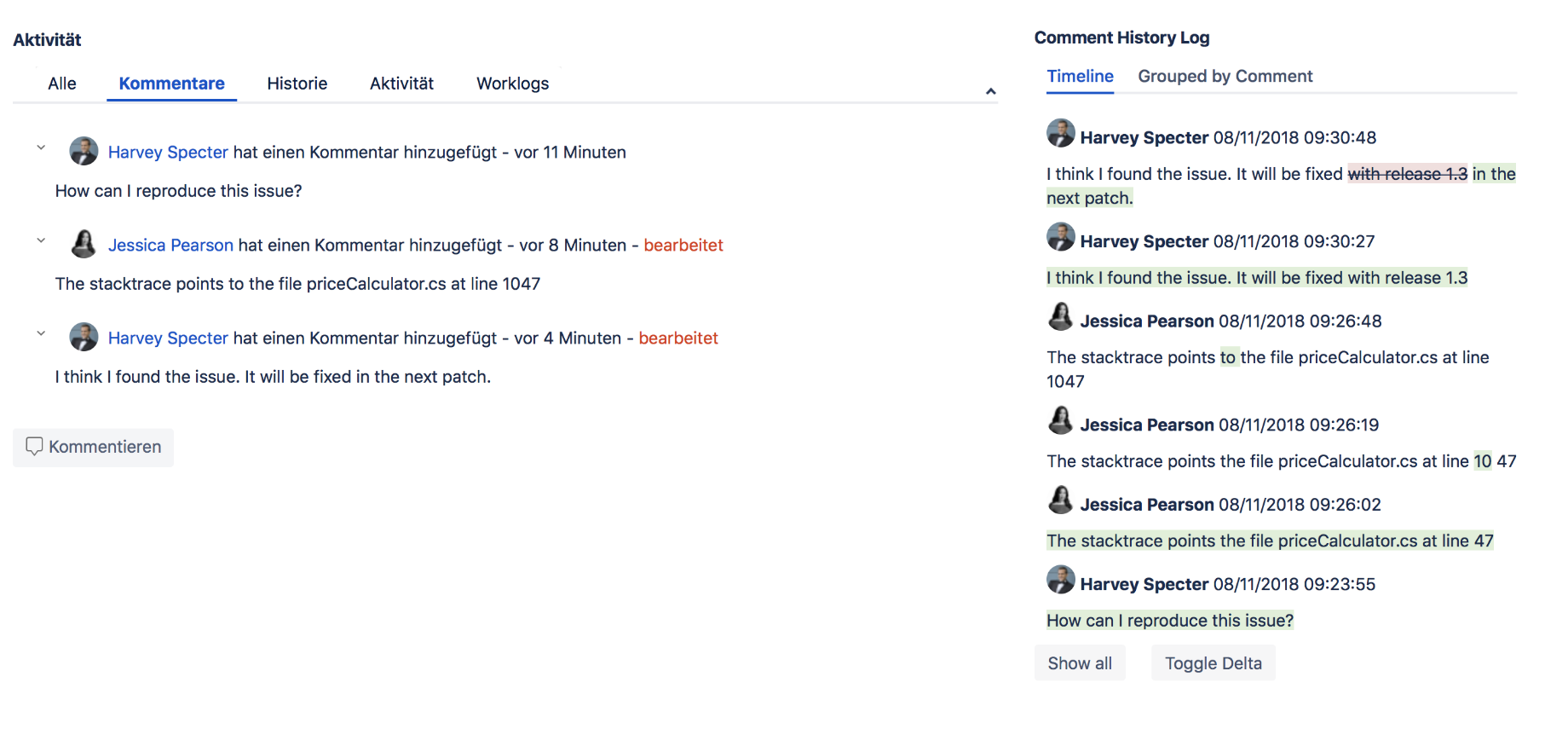 Highlight 1 Comment History Log for Jira