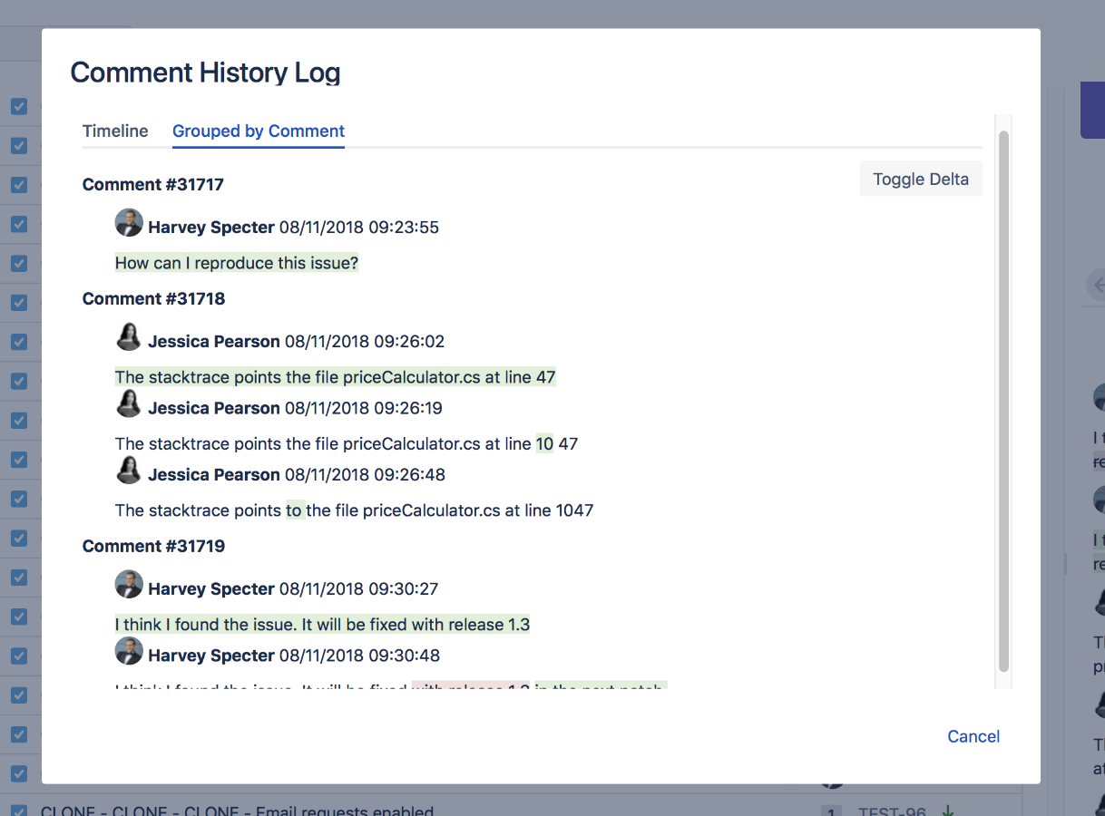 Highlight 2 Comment History Log for Jira