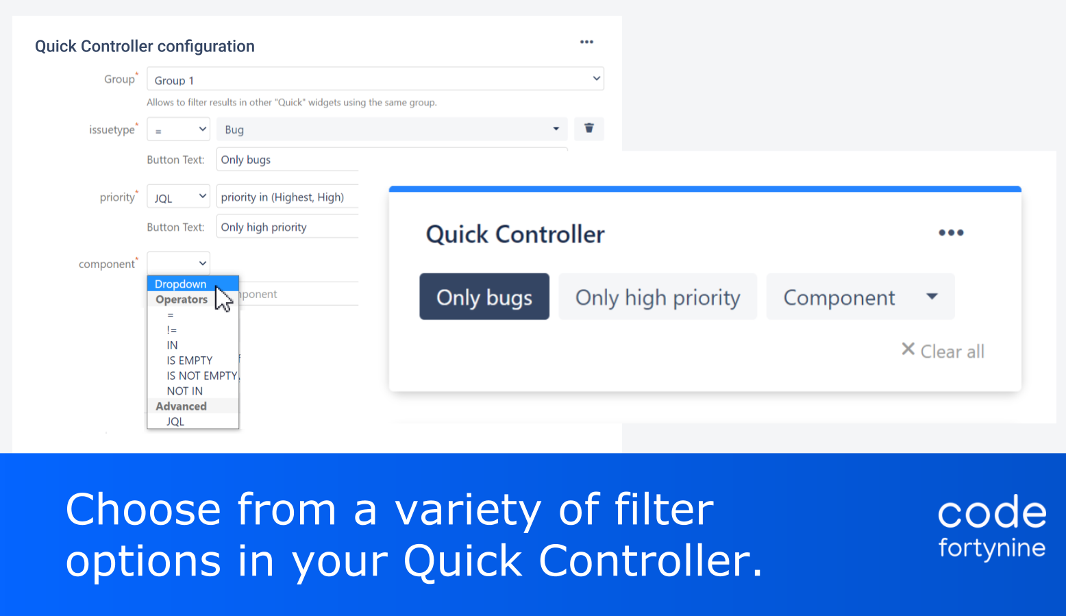Highlight 2 Quick Filters for Jira Dashboards